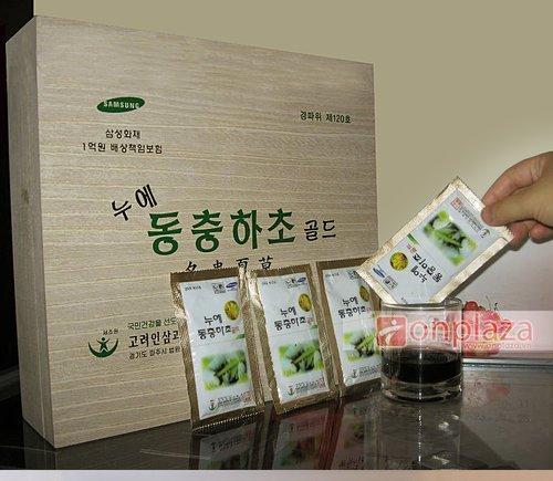Nước uống Đông trùng hạ thảo Hàn Quốc Sam sung hộp gỗ 60 gói.