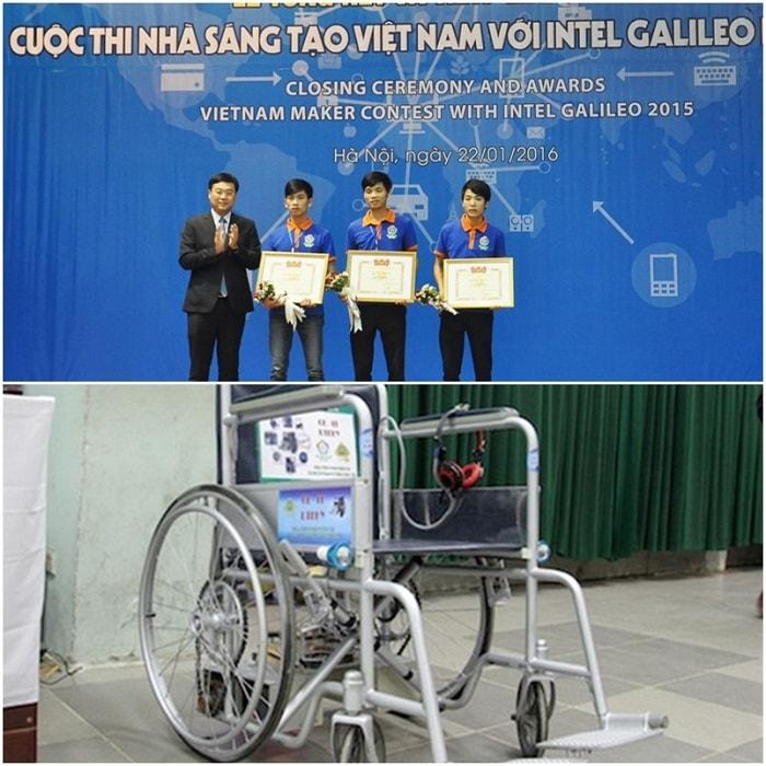 Sinh viên Hưng Yên sáng chế ra chiếc xe lăn siêu thông minh
