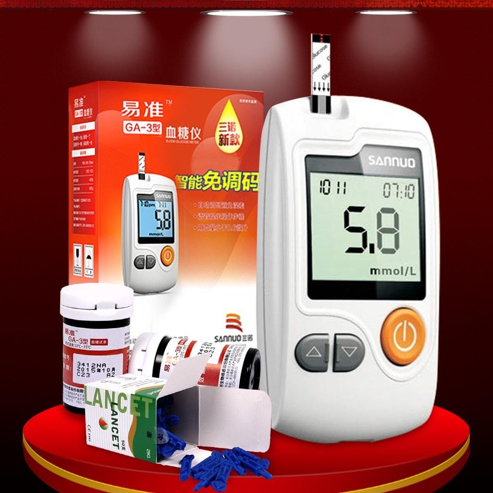 Bộ sản phẩm Máy đo đường huyết thông minh SANNUO- GA3 cao cấp TM001
