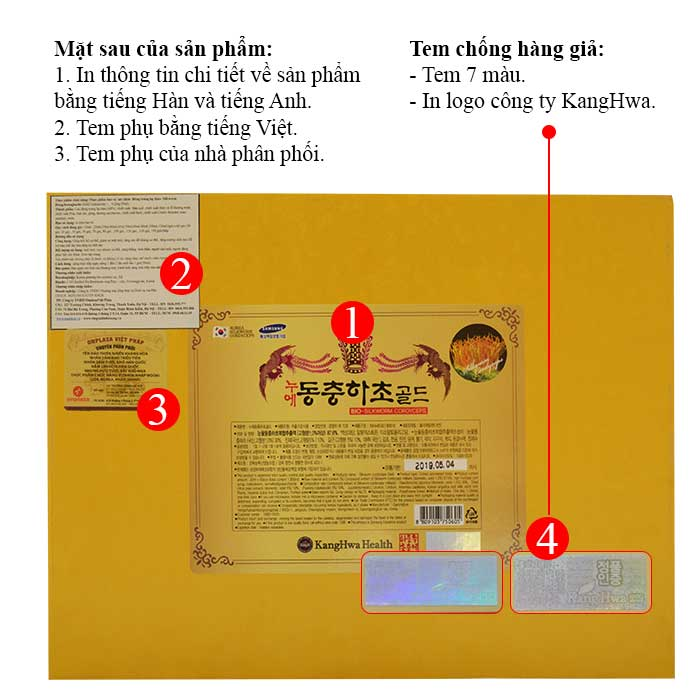 Đặc điểm của đông trùng hạ thảo hộp gỗ vàng Cao Cấp 60 gói