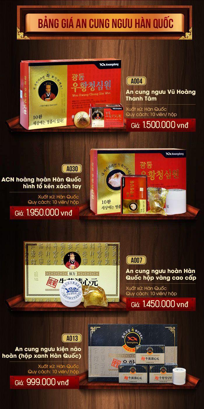 Bảng giá sản phẩm an cung ngưu hoàng hoàn Hàn Quốc