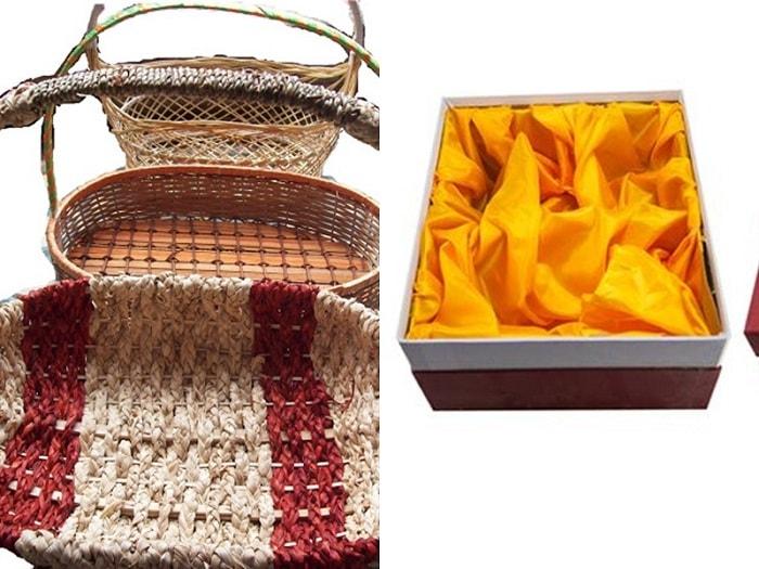 Giỏ quà bằng mây tre hoặc lót lụa sang trọng