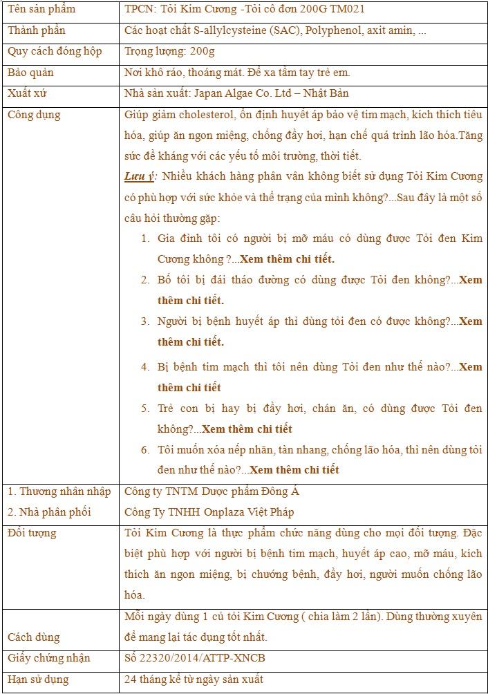 TPCN: Tỏi Kim Cương -Tỏi cô đơn 200G TM021 9