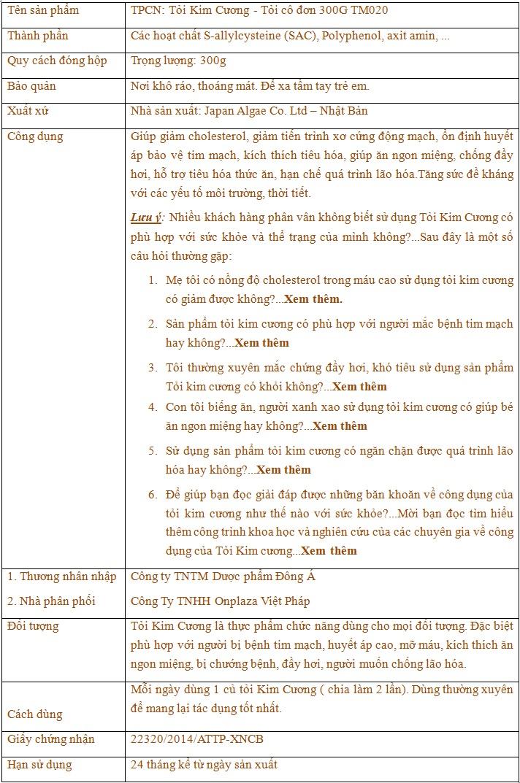 TPCN: Tỏi Kim Cương - Tỏi cô đơn 300G TM020 10